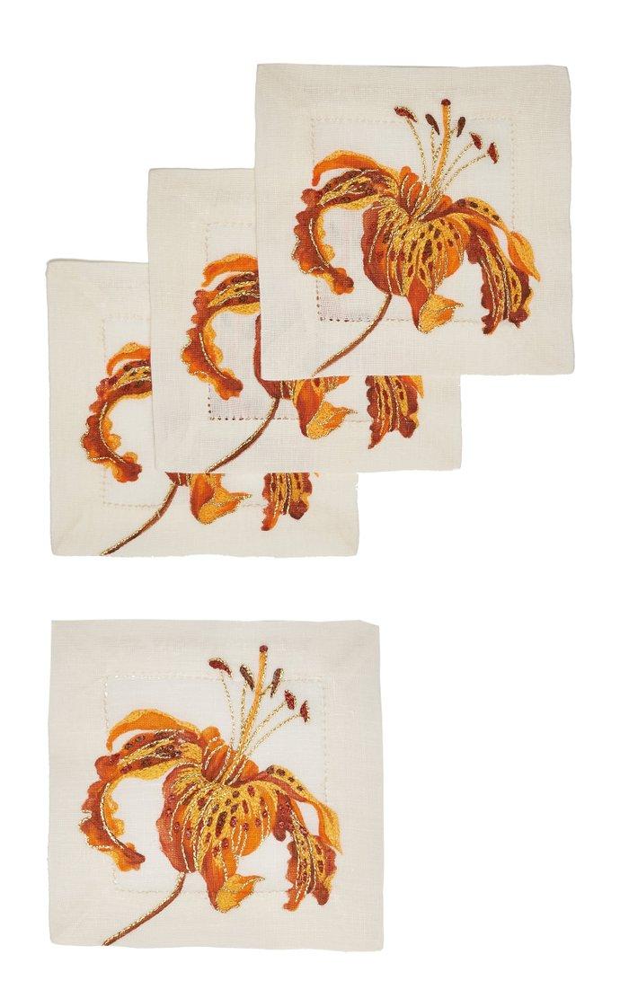 Set Of 4 Orchid Savage   Coaster