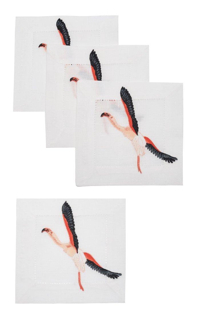 Set Of 4 Flamingo   Coaster