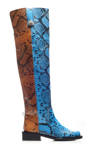 MC Snake-Effect Leather Knee Boots