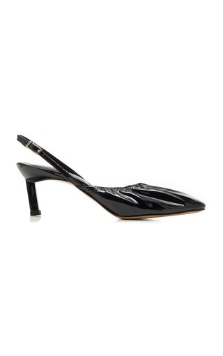 Ruched Leather Pumps
