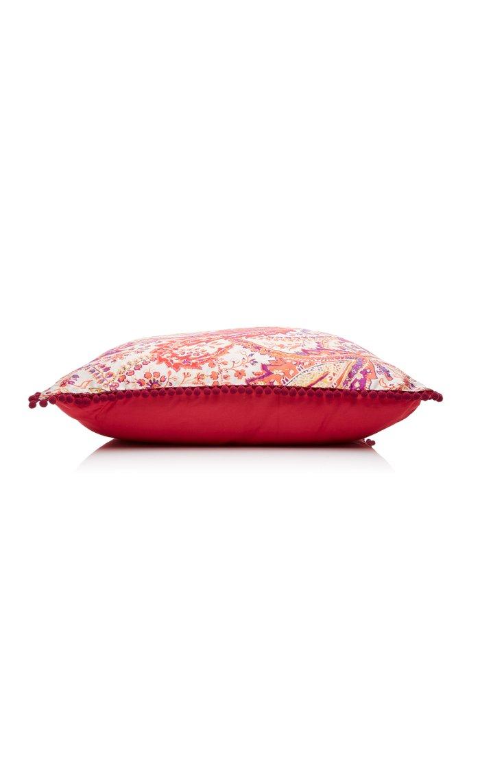 Melibea Paisley-Print Cotton Throw Pillow