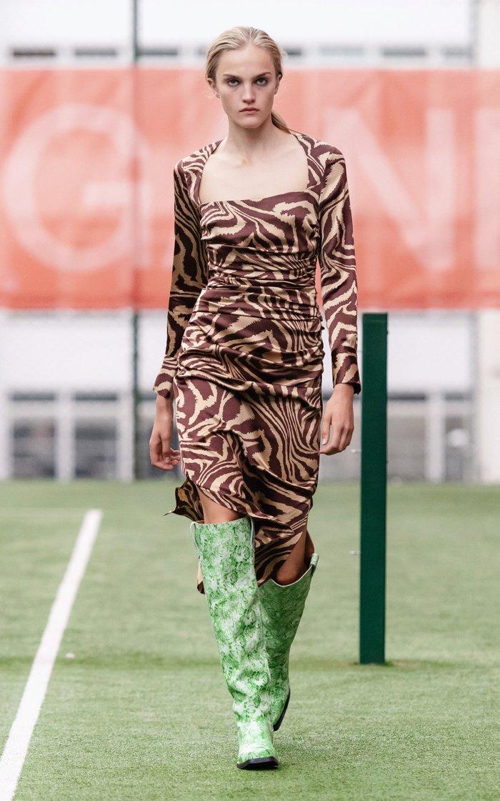 Silk Stretch Satin Square Neck Midi Dress
