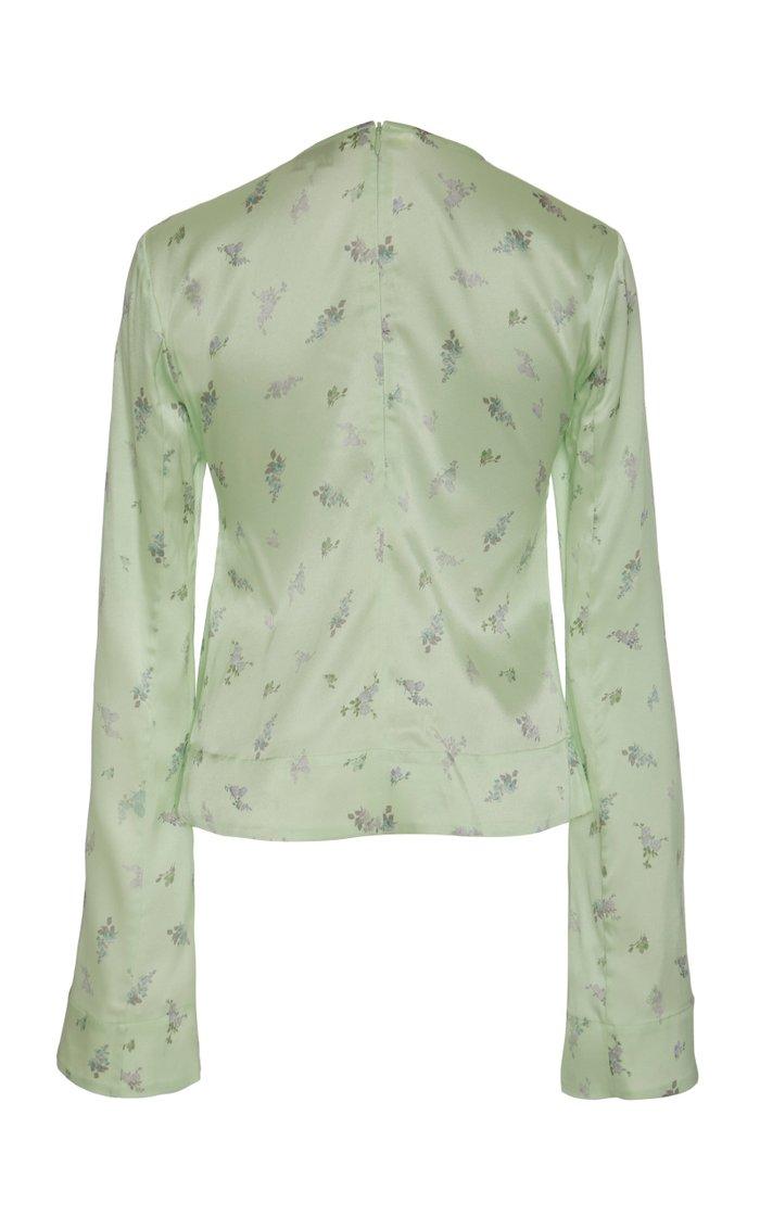 Cutout Floral-Print Silk-Blend Satin Top