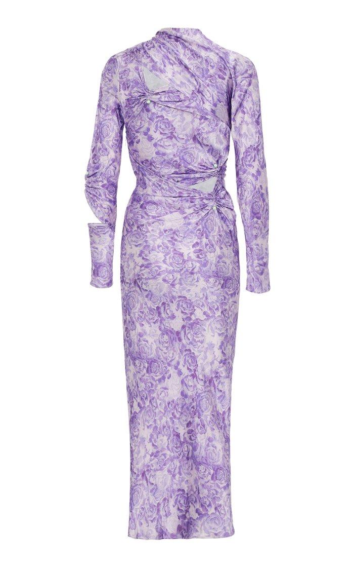 Embellished Gathered Cutout Satin Midi Dress
