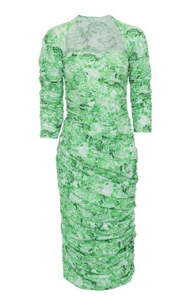 Ruched Floral-Print Cotton-Poplin Midi Dress