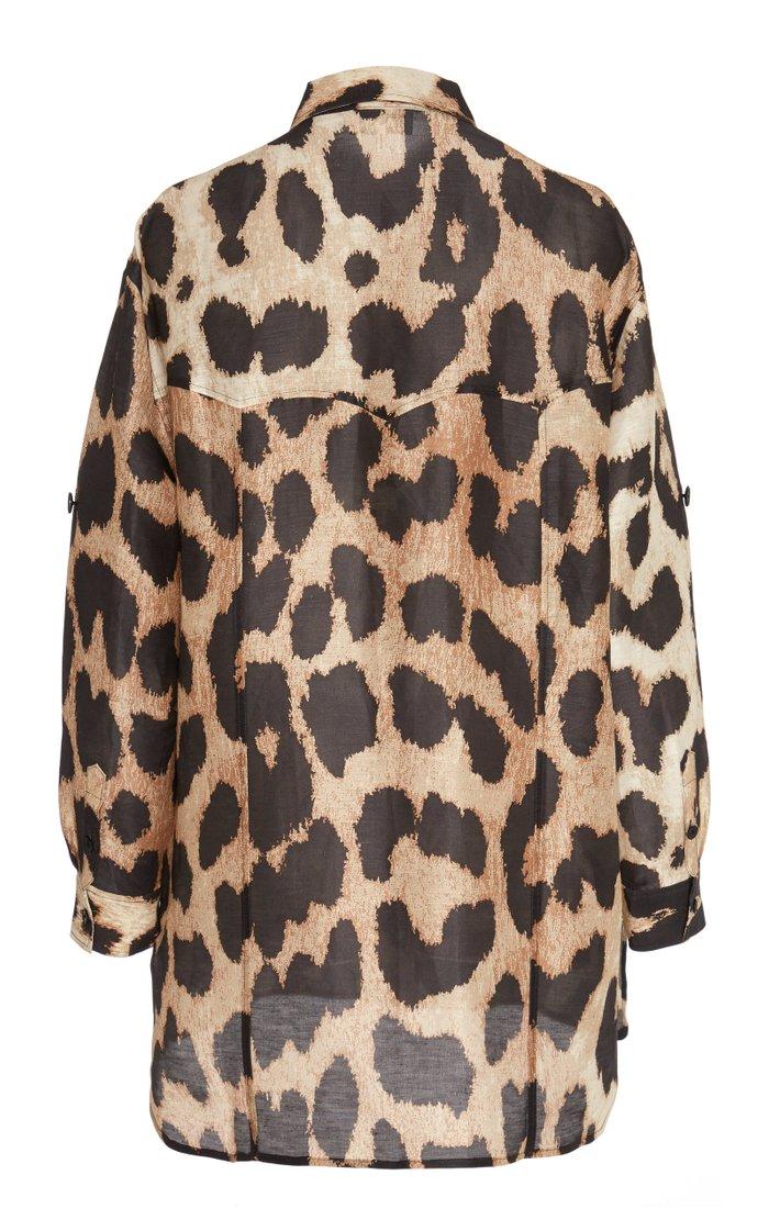 Leopard-Print Linen and Silk-Blend Top