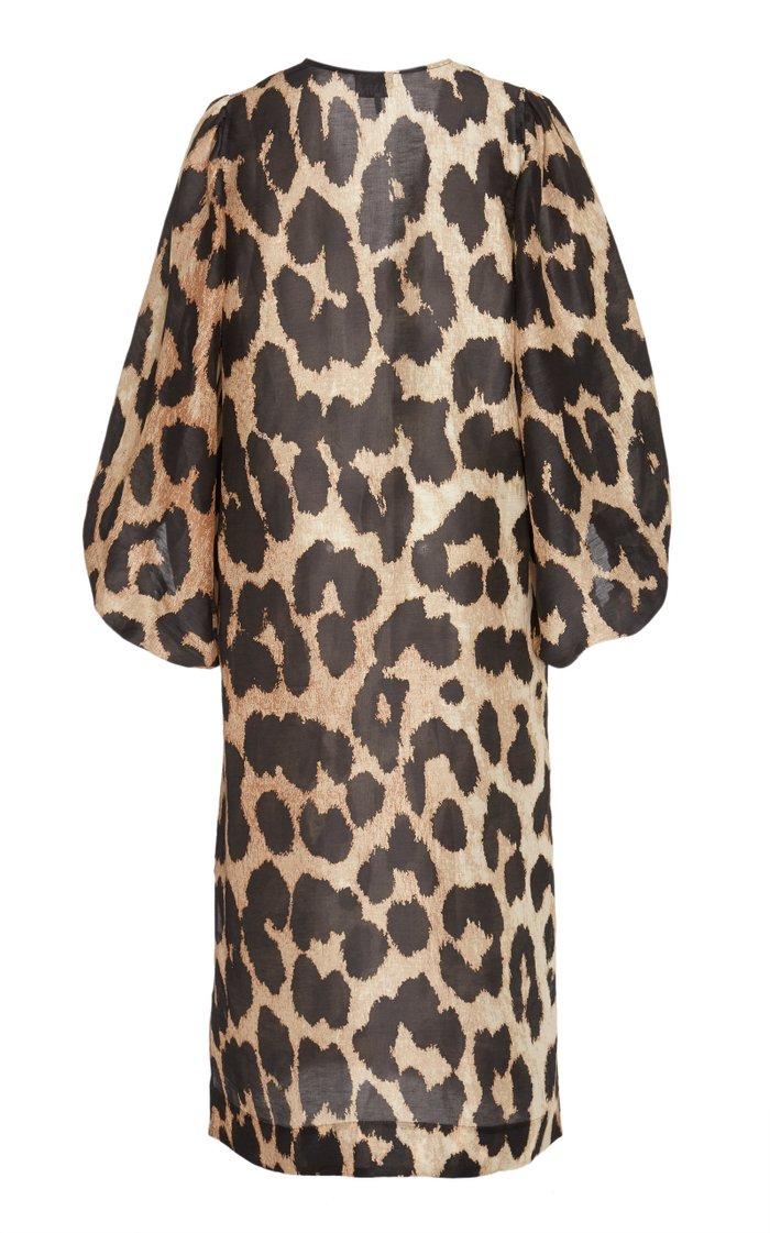 Leopard-Print Linen-Silk Blend Midi Dress