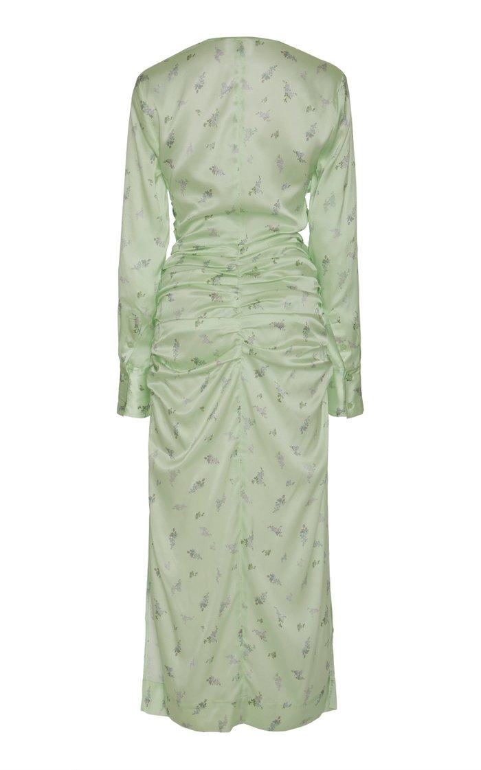 Floral-Print Silk-Blend Satin Midi Dress