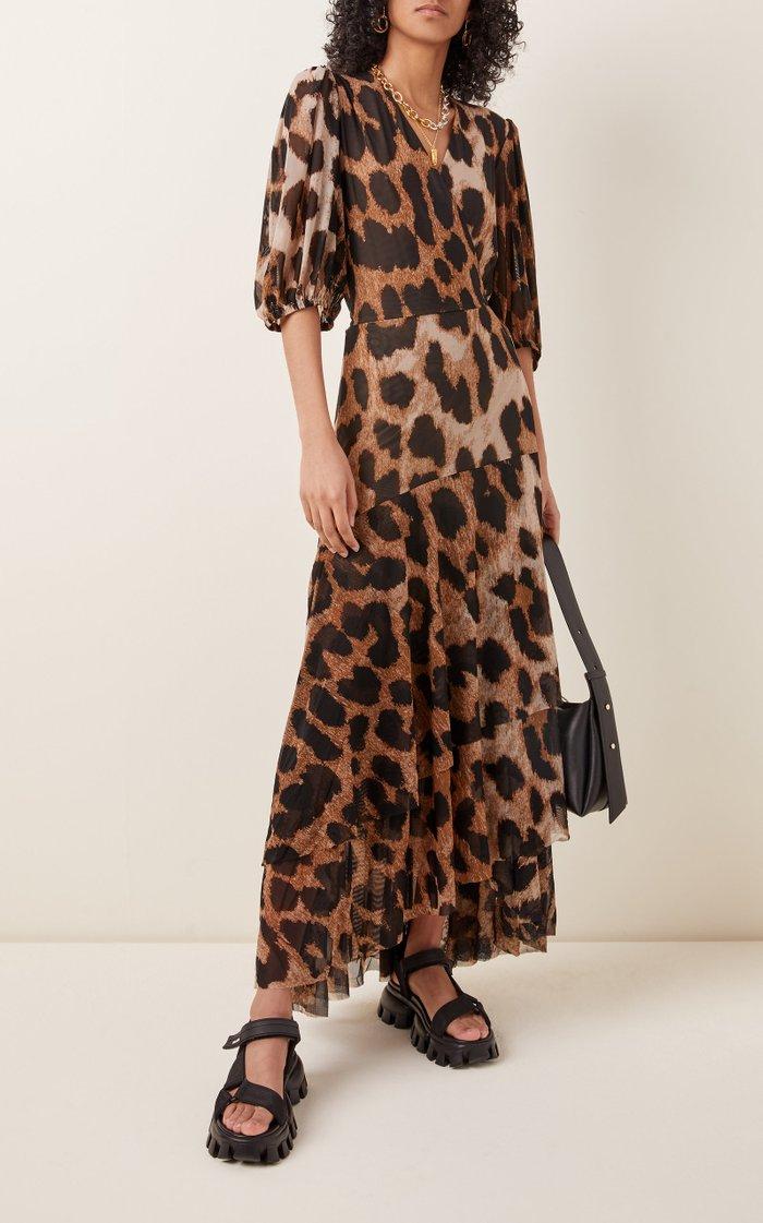 Leopard-Print Stretch-Jersey Wrap Maxi Dress