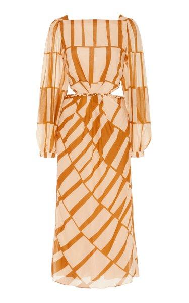 Illusion Of Time Cotton Cutout Midi Dress