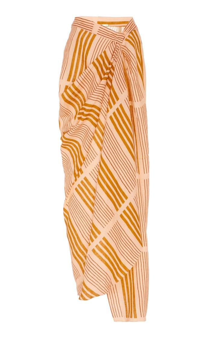 Directional Hypothesis Linen Wrap Maxi Skirt