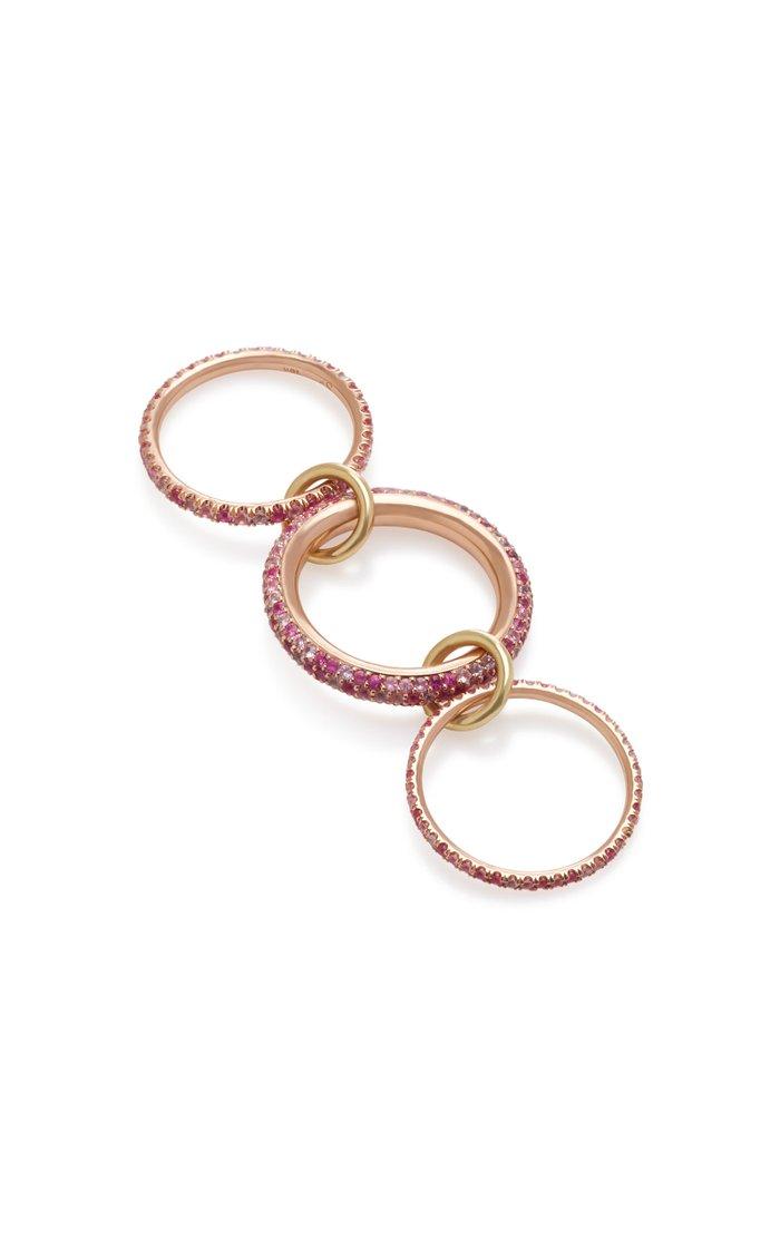 Aurora Rose Set-Of-Three 18K Gold, Ruby, Sapphire and Diamond Rings