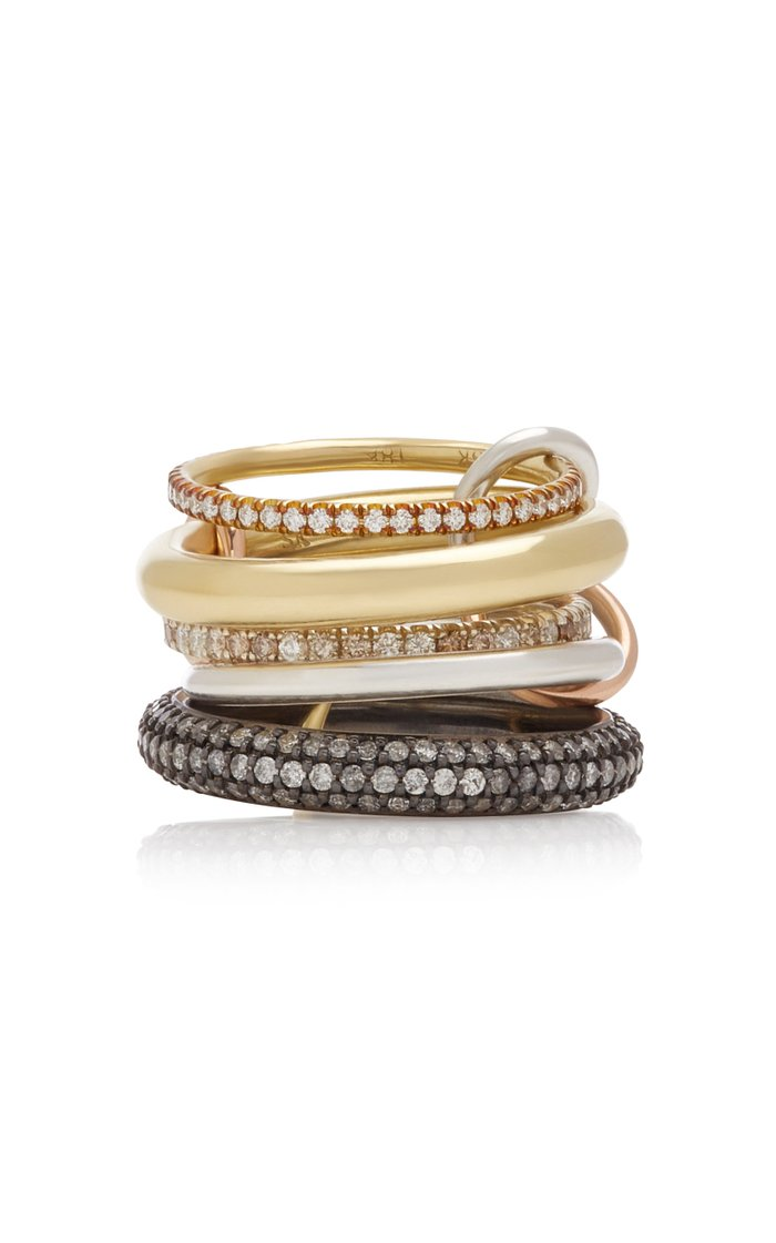 Nexus Set-Of-Five 18K Gold, Sterling Silver and Rhodium-Plated Diamond Rings