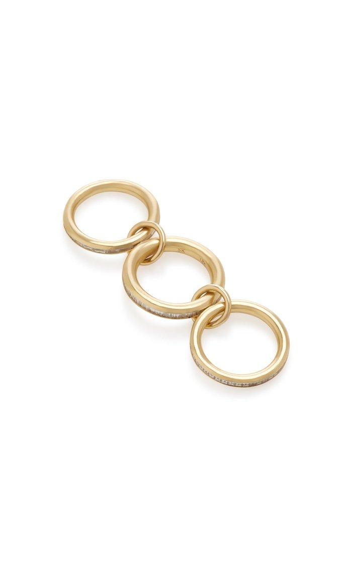 Manava Set-Of-Three 18K Gold Diamond Rings
