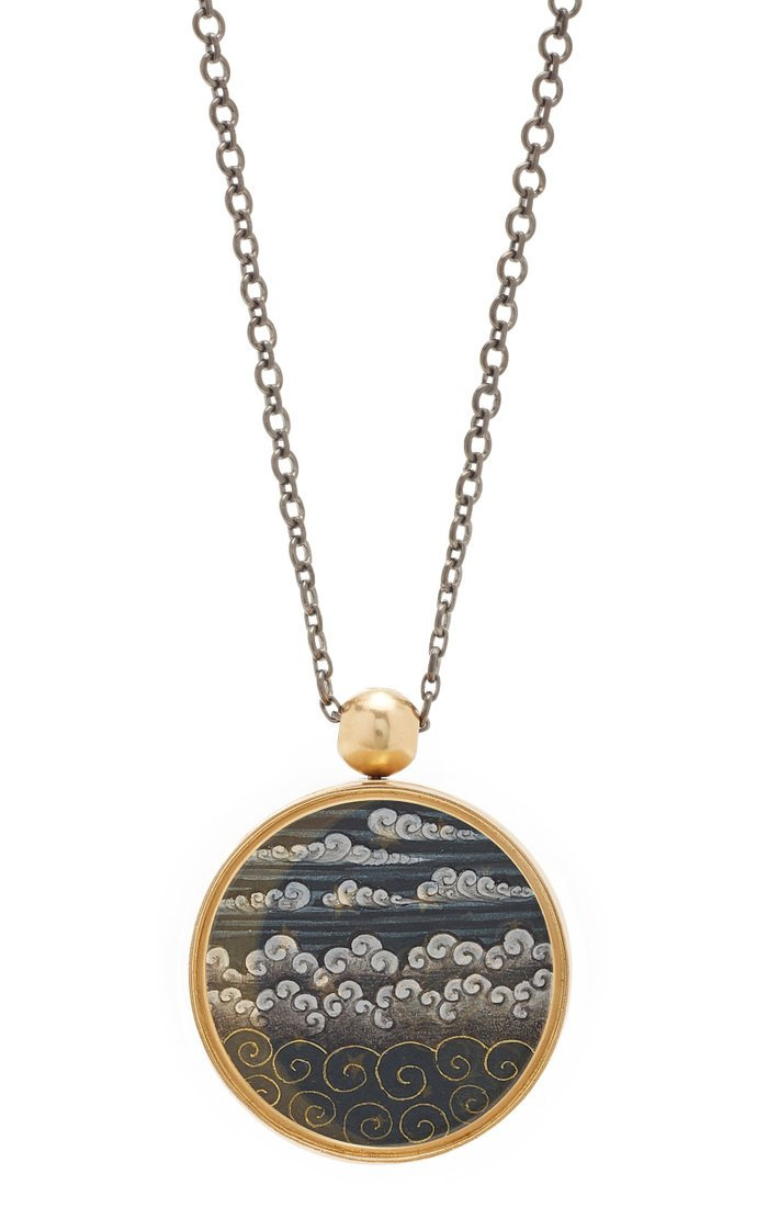 Reversible 18K Gold Hand-Painted Necklace