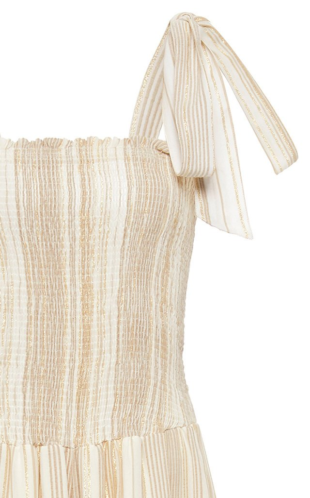 Tie-Detailed Smocked Striped Cotton Jumpsuit