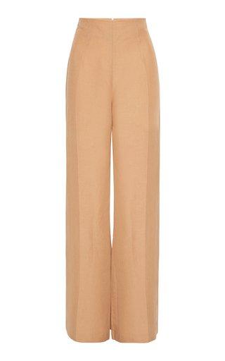 Amo Flared Linen-Blend Trousers