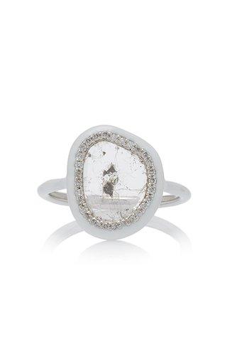Phoenix Slice Diamond White Enamel Ring