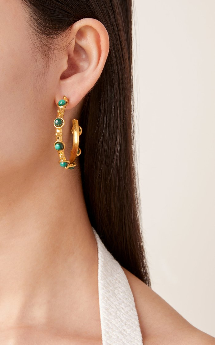 Petite Candy Malachite Hoop Earrings