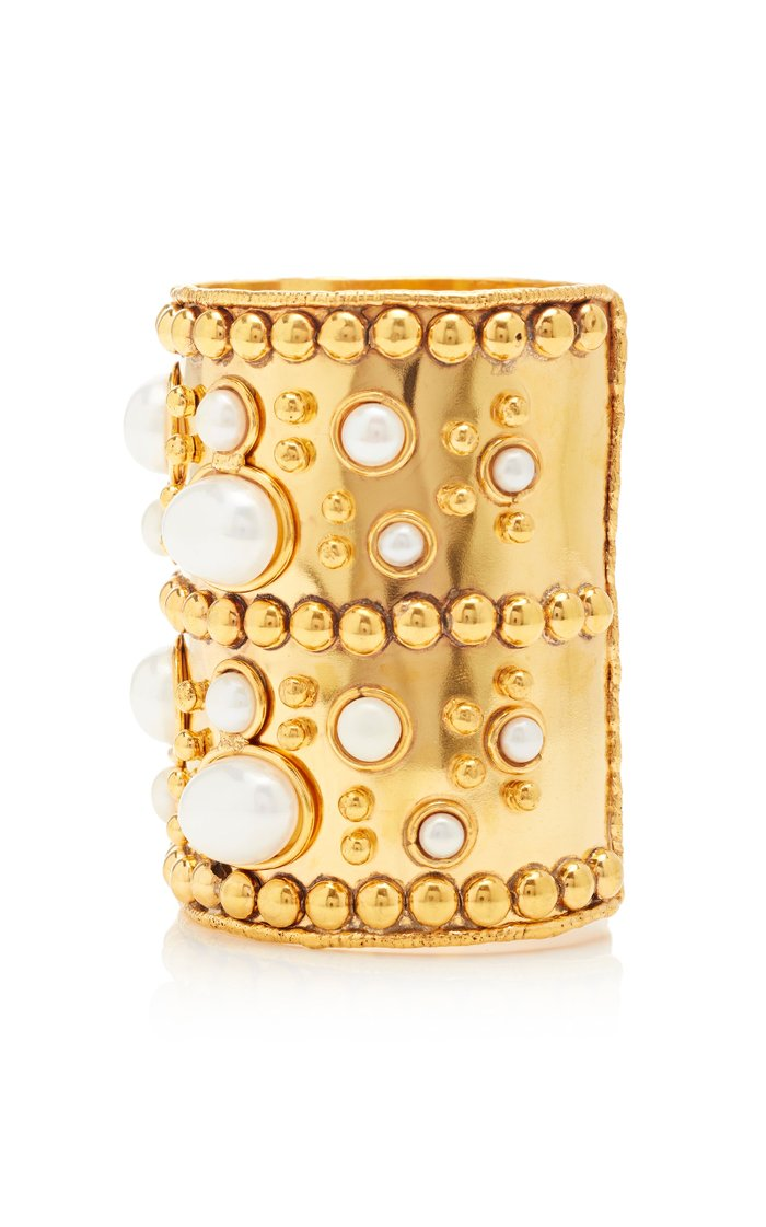 Manchette And Wonder Byzance Gold-Plated And Pearl Wide Cuff
