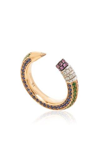 18K Rose Gold, Diamond, & Sapphire Pencil Ring