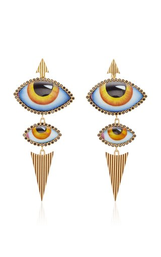 14K Gold Yellow Enamel Eye and Diamond Earrings