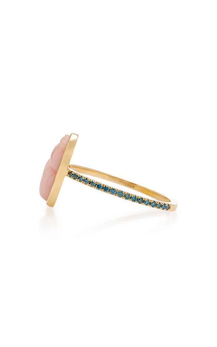 14K Gold Pink Opal Scarab and Blue Diamond Ring