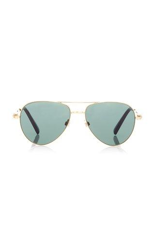 Valentino Garavani Rockstud Aviator-Style Metal Sunglasses