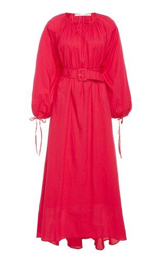 Flowy Puffed Sleeves Cotton Dress