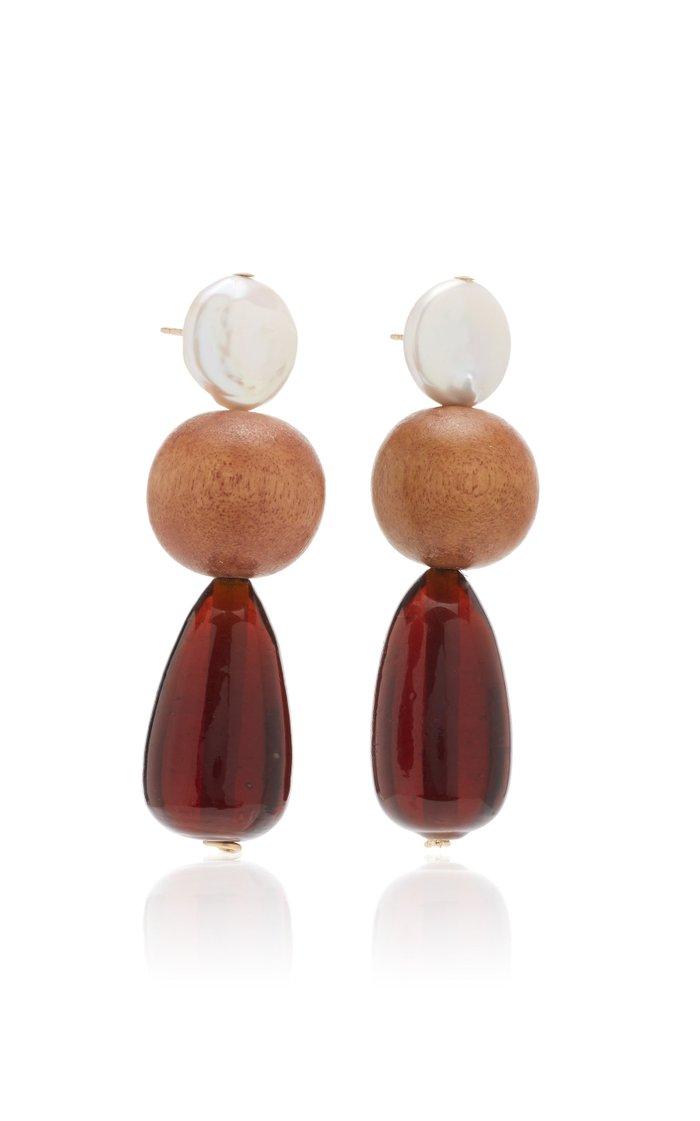 M'O Exclusive Wood & Pearl Drop Earrings