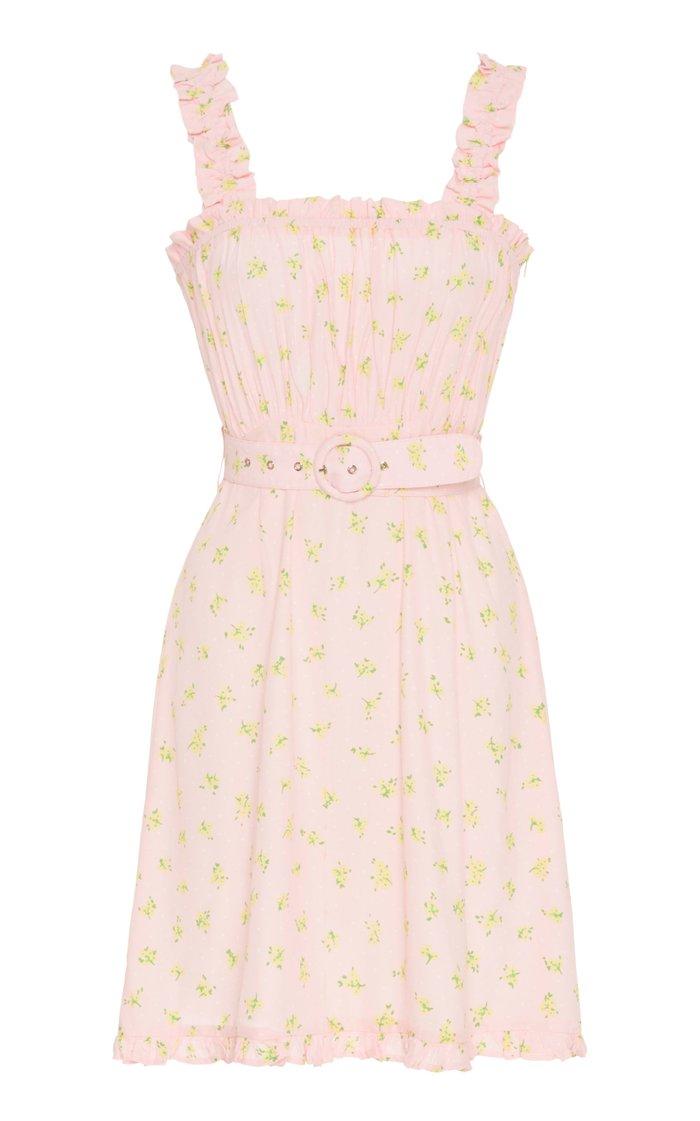 Belted Ruffled Floral-Print Crepe Mini Dress