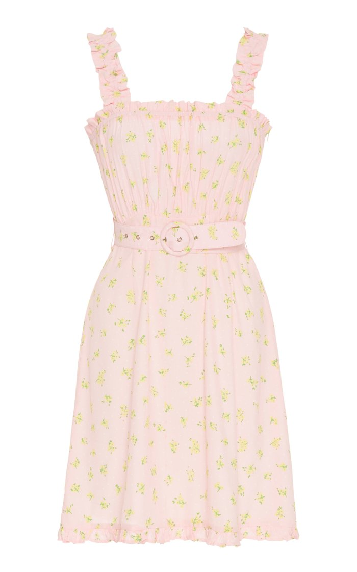 Belted Ruffled Floral-Print Crepe Mini Dress