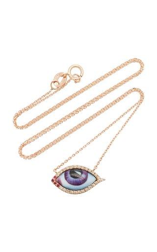 14K Rose Gold & Enamel Eye Necklace