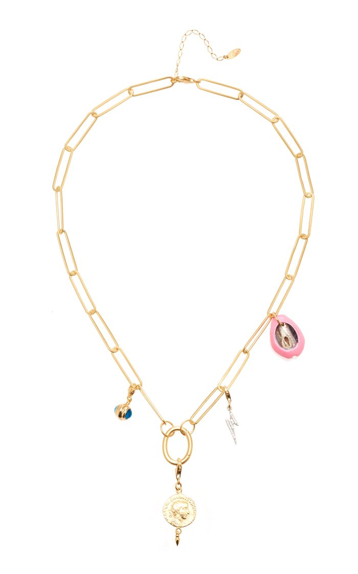 Poppy Chain Charm Gold-Plated Necklace