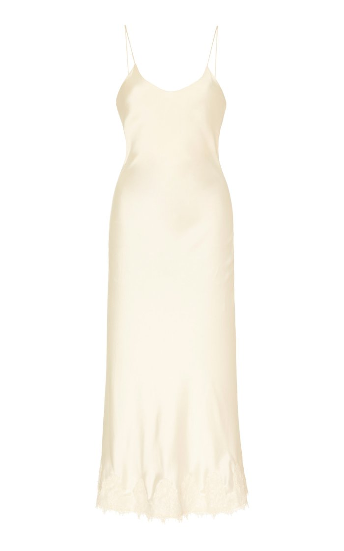 Verona Lace-Trimmed Silk-Satin Slip Dress