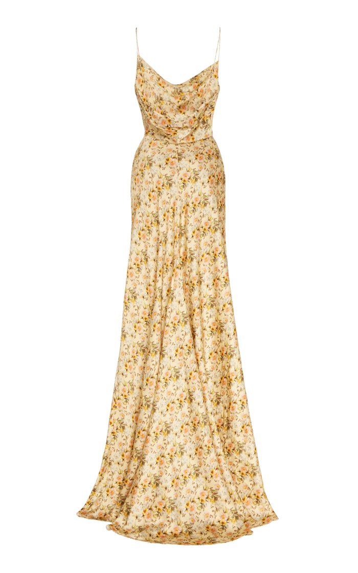 Dashwood Floral-Print Silk-Satin Gown
