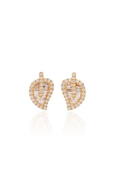 Leaf 18K Gold Diamond Earrings