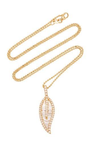 Leaf Large 18K Gold Diamond Necklace