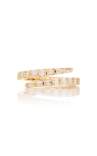 Two Row Baguette Diamond Coil Ring