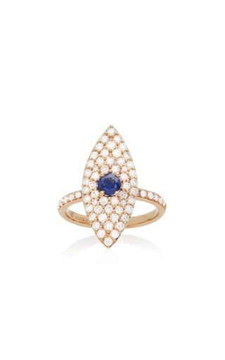 18K Gold, Diamond and Sapphire Ring