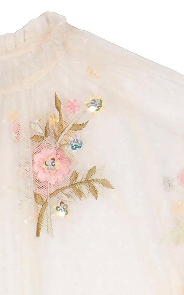 Petunia Sequin-Embroidered Tulle Cape