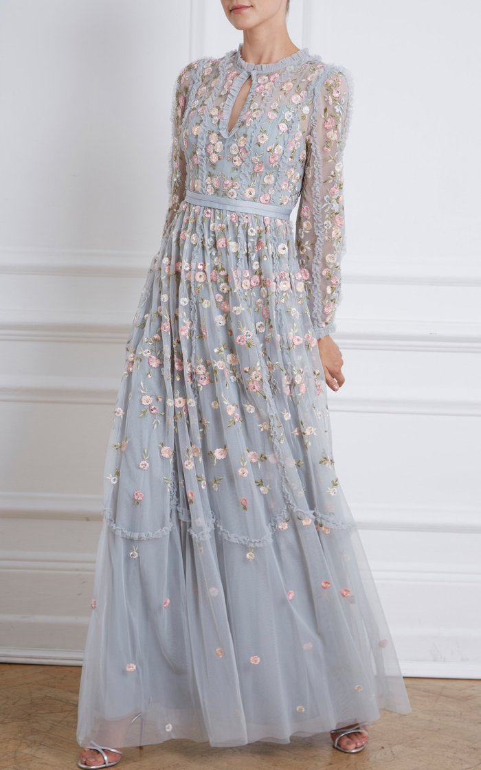 Wallflower Embroidered Tulle Maxi Dress