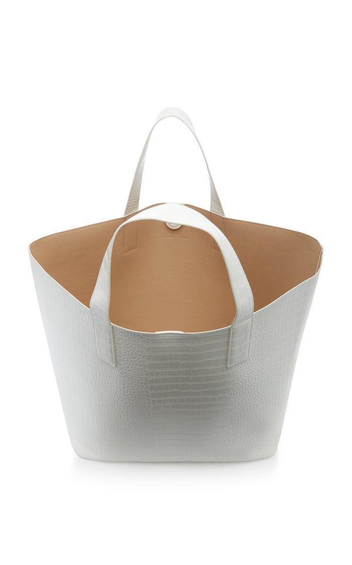 Croc-Effect Vegan Leather Tote Bag