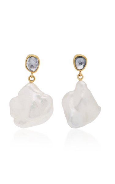 Apple & Eve 18K Gold, Sapphire and Pearl Earrings