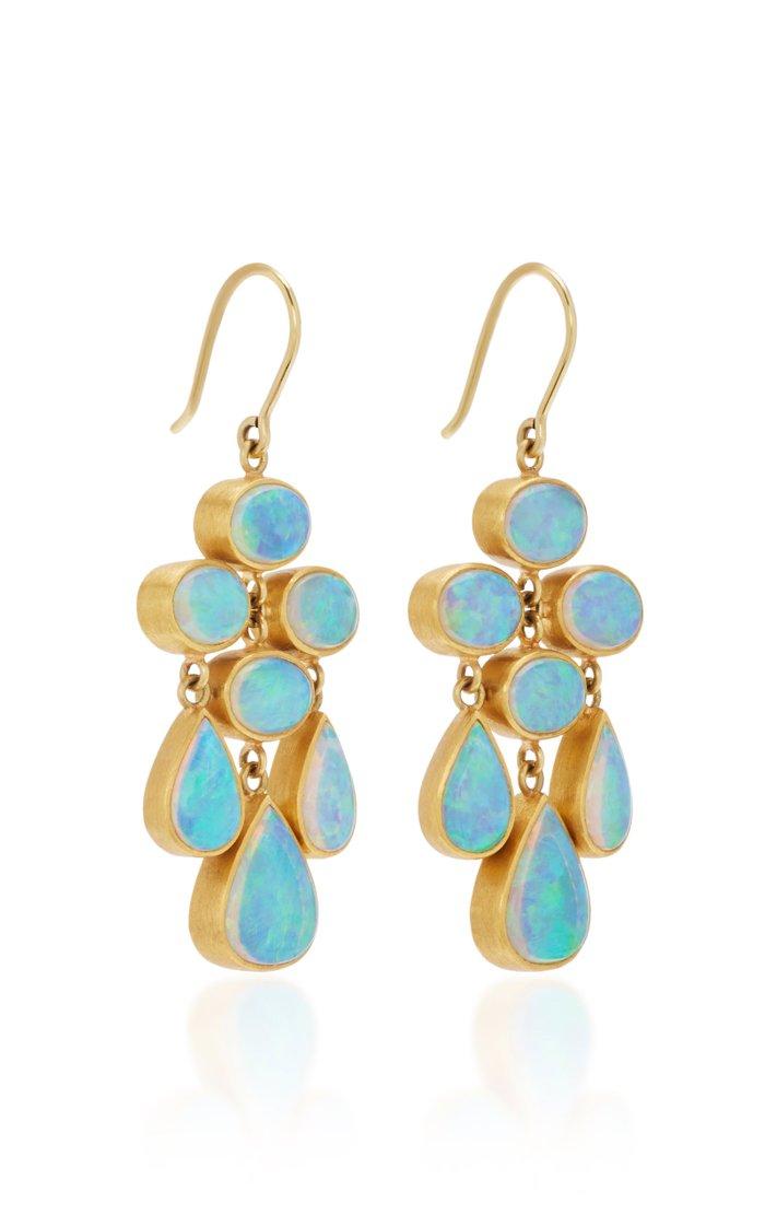 Trapeze 22K Gold Opal Earrings