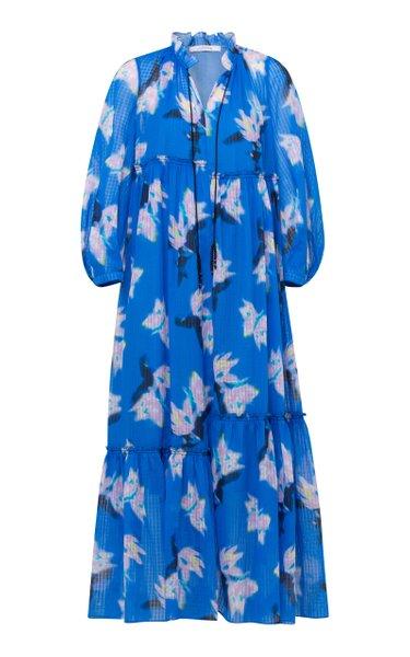 Energetic Mix Floral-Print Cotton-Poplin Maxi Dress