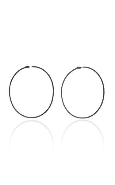 Starlight Rhodium-Plated Sterling Silver And Tsavorite Hoop Earrings