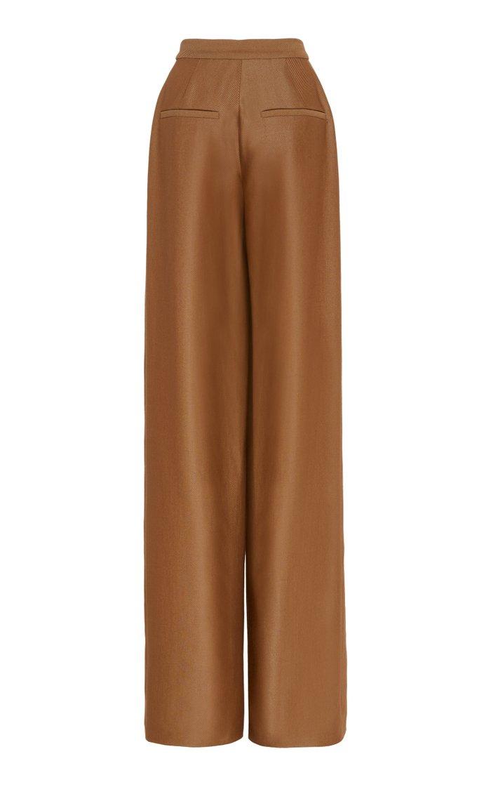 Creased Wool-Silk Twill Wide-Leg Pants