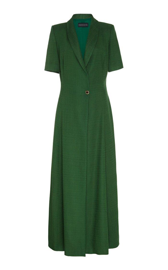 Button-Detailed Midi Dress