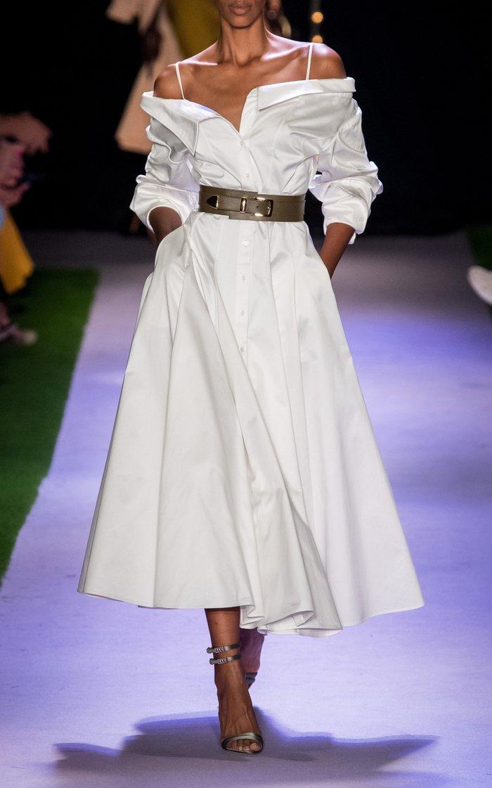 Off-The-Shoulder Cotton Midi Shirt Dress